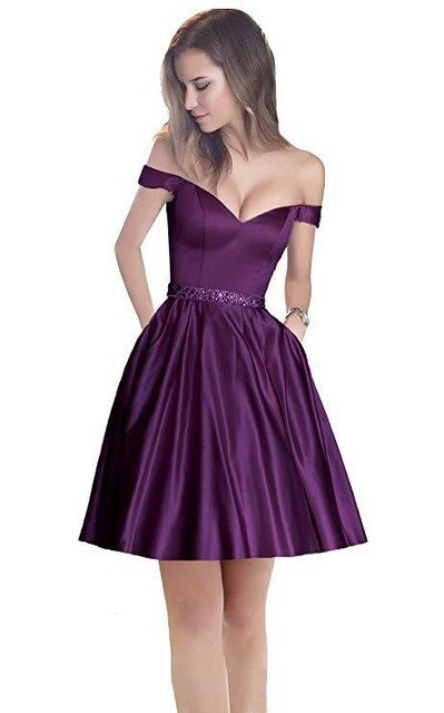 BGW 3105ht Off Shoulder Satin A Line Homecoming Dresses Sleeveless Mini Robes Sexy V Neck 2020 Newest Girls Dress For Party