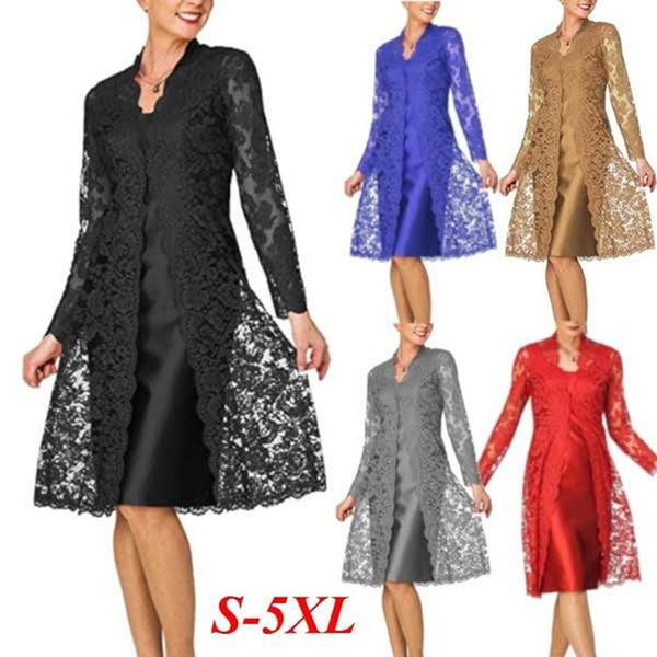 Satin O Neck Full Sleeves Straight Plus Size Mother Of The Bride Dresses Knee Length With Lace Wrap Elegant Dress For Godmother