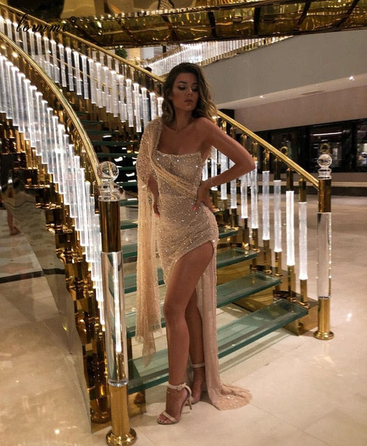 Middle East Champagne Glitter Cocktail Dresses 2020 One Shoulder Prom Party Dresses Women Robes De Cocktail Side Split Gowns