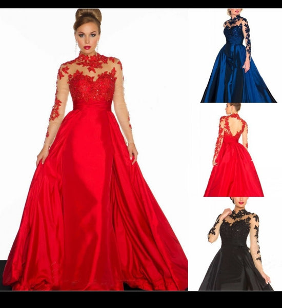 Red Black Ball Gown Long Sleeve Evening Dress Groom Mother Of The Bride Dresses Formal Prom Gown