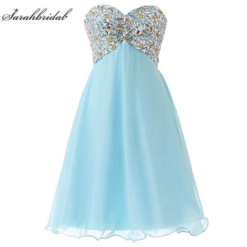 Sweet 18 Crystal Short Homecoming Dresses Cheap Sweetheart Sky Blue Lace-up Ruched Graduation Cocktail Party Gown Vestidos SD093