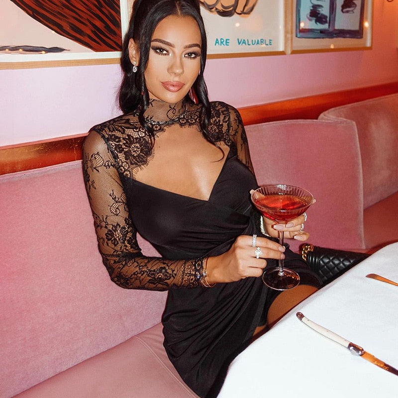 BacklakeGirls Black Deep V-neck Sexy Women Mesh Cocktail Dress Lace Floral Ladies Sexy Evening Party Dress 2020 Платье Сетка