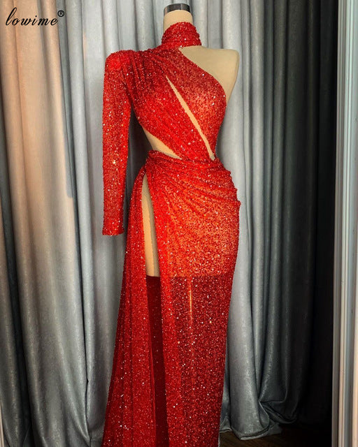 Dubai Plus Size Red Sparkly Evening Dresses Muslim High Neck Prom Dresses With Side Split Elegant Women Cocktail Dress Party