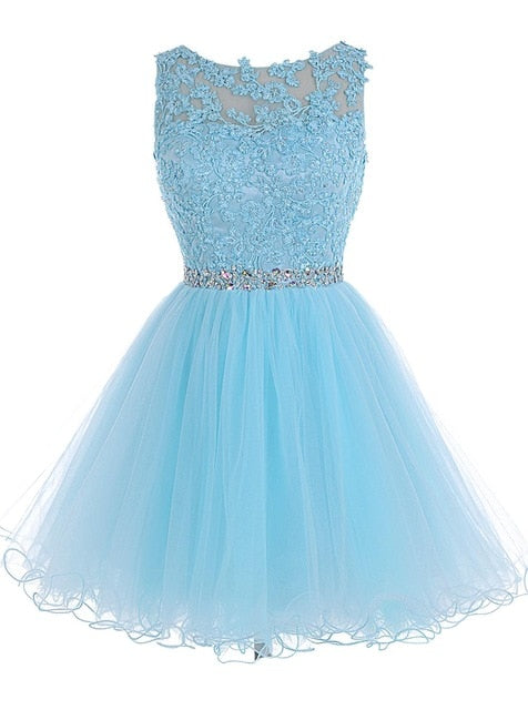 Cheap Sky Blue Homecoming Dress Embroidery Beaded Sparkly Short Gown Above Knee Mini Prom Graudation Dress Party Free shipping
