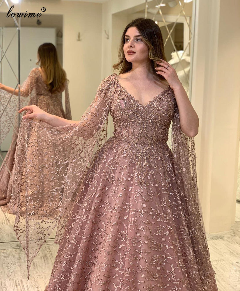 Plus Size Blush Pink Evening Dresses A-Line Middle East Lace Prom Dresses Beading Celebrity Dresses Party Women Robe De Soiree