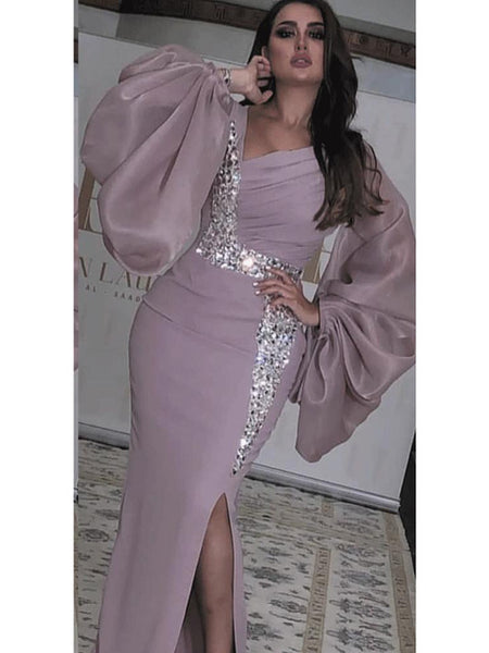 Elegant Dusty Purple Arabic Evening Dresses Long 2020 Beaded Crystal Mermaid Formal Prom Dress Party Gowns abiye gece elbisesi