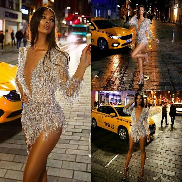 Sexy Mini Cocktail Dresses Deep V Neck Lace Beads Tassel Illusion Long Sleeve Evening Dress Party Wear Custom Made