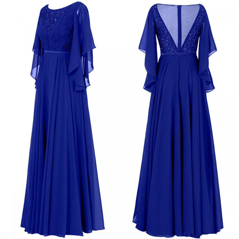 Fashion Cheap Mother of the Bride Groom Dresses With Juliet Sleeves Chiffon Beaded Long Evening Formal Dress Gowns