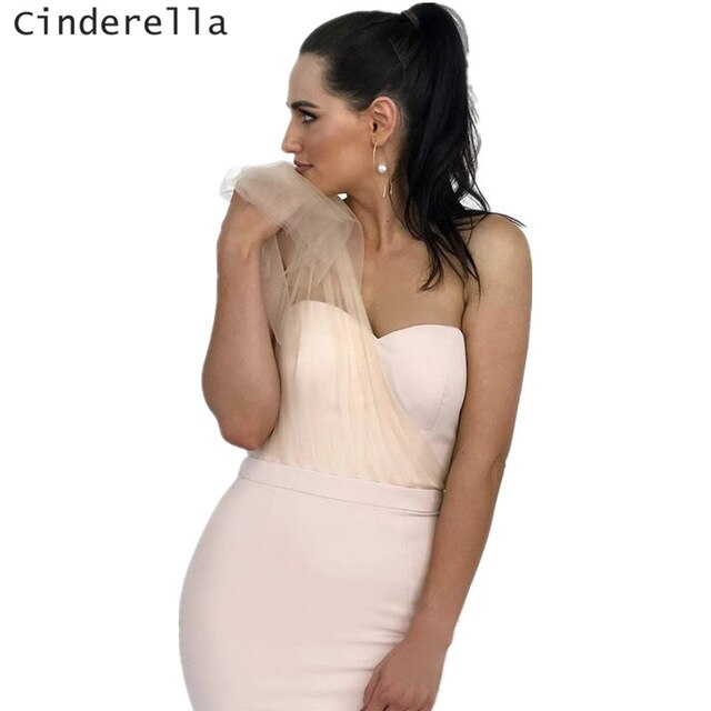Cinderella Light Champagne Soft Tulle One Shoulder Mermaid Sweep Train Satin Women Bridesmaid Dresses Wedding Party Gown
