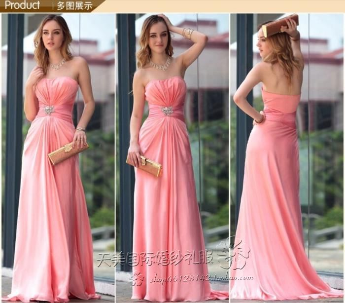 casamento sexy long party women elegant new style custom crystal casual free shipping bridesmaid dresses