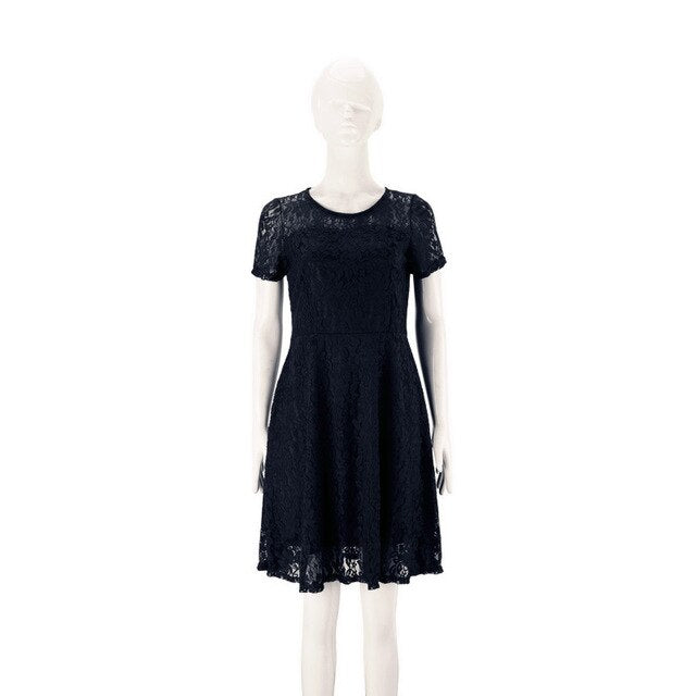 Women O Neck Royal Blue Lace Short Sleeve A Line Elegant Cocktail Dress 2020 Girls White Mini Dresses Summer Robe Courte Femme