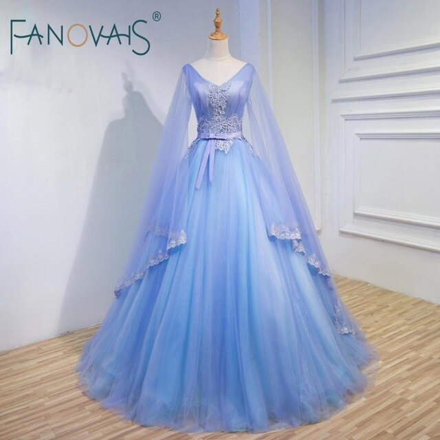 Pink Blue Evening Dresses Long Sleeves Tulle Prom Dress Formal Party Gowns robe de soiree Wide Sleeve Ball Gown avondjurk