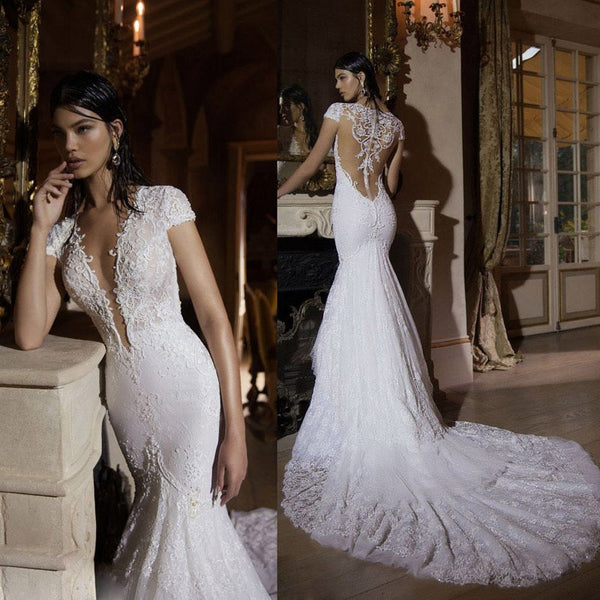 Sexy Covered Back Wedding Dress Luxury Pearls Lace Wedding Gowns Mermaid 2016 short sleeves Vestido De Noiva Sereia WD019
