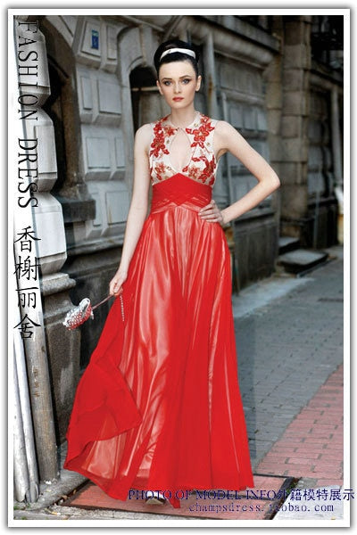 new fashion embroidery backless evening gown party Graduation mother of the bride Dresses