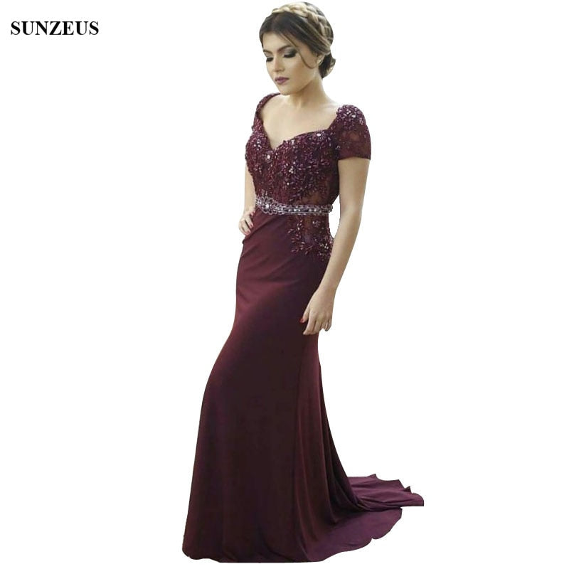 Beaded Appliques Burgundy Mother Of The Bride Dresses Mermaid Sweetheart Short Sleeve Party Dress Women Long Formal Wear
