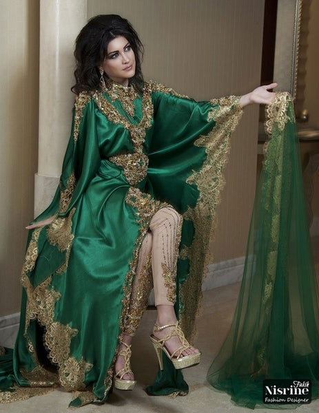 Vintage Green Arabic vestido de noiva Prom Long Sleeves Gold Applique Dubai Evening party Gown 2018 mother of the bride dresses