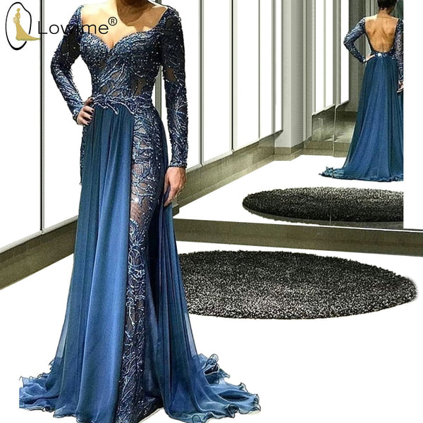 Middle East Sexy Backless Evening Dresses Mermaid Muslim Long Sleeve Formal Dress Robe De Soiree Saudi Arabia Prom Part Dress