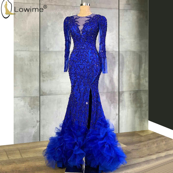 Royal Blue Long Sleeve Full Beading Mermaid Evening Dresses Ruffles Abendkleider Robes Dubai Party Gowns