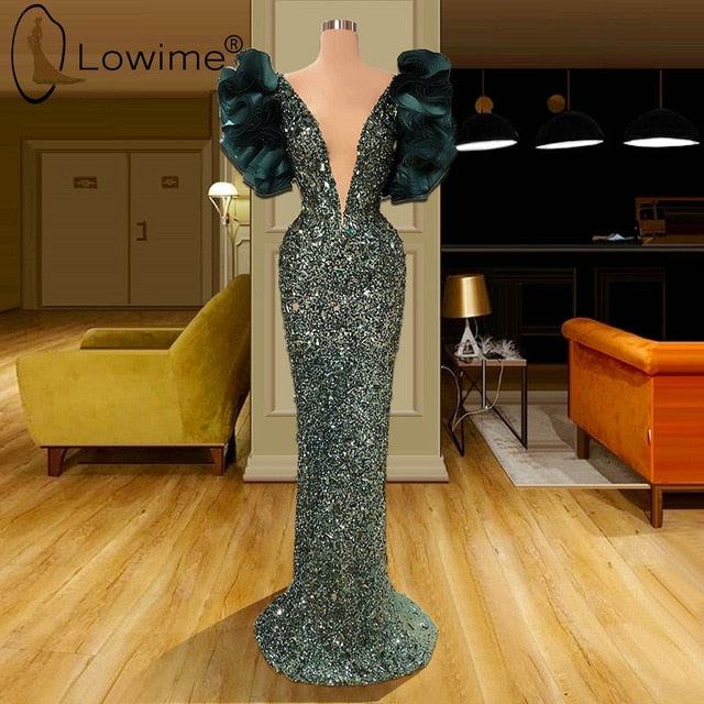 Sexy Deep V Neck Evening Dresses 2020 Mermaid Ruffles Floor Length Sequined Formal Dress Vestido De Soiree Prom Party Dresses