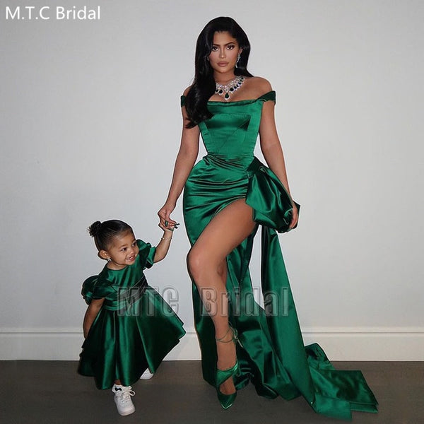 Green Sexy Long Mermaid Prom Dresses High Slit Off The Shoulder Shiny Satin Formal Occasion Dress Plus Size Graduation Gowns