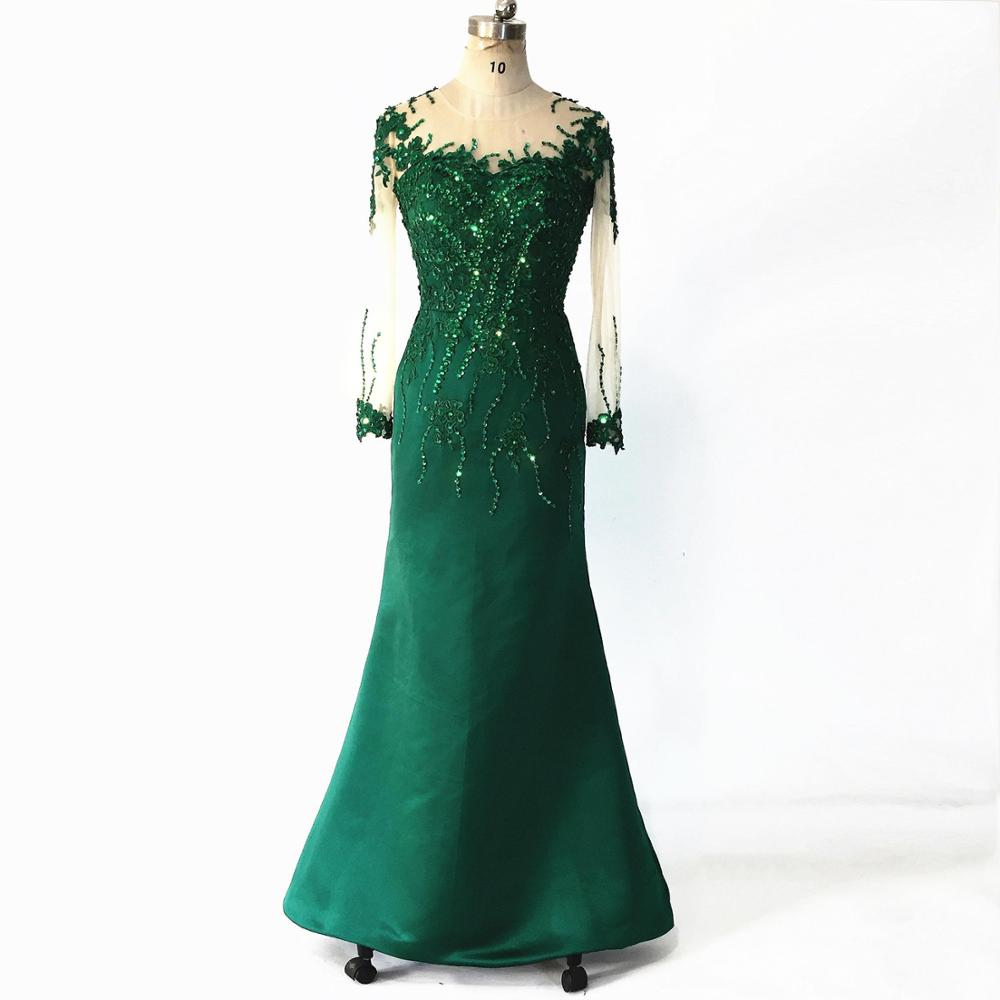 Dubai Arabic Green Satin Prom Dresses Mermaid 2020 Long Sleeves Formal Beading Lace Applique Evening Party Dress Robe De Soiree