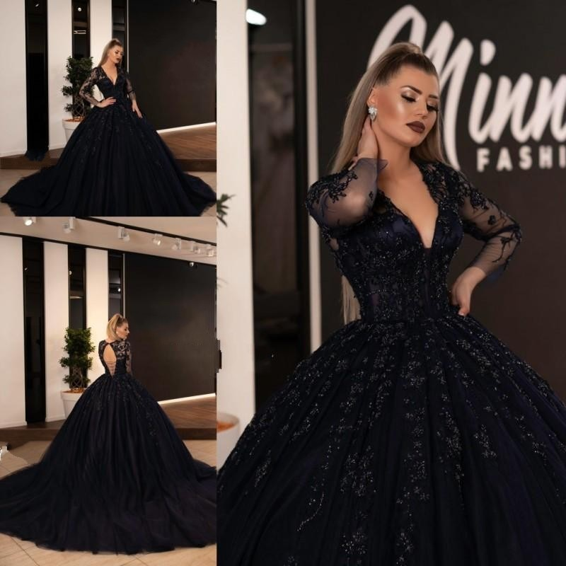 Sexy Black Ball Gown Quinceanera Dresses V Neck Lace Applique Evening Prom Dress  Sweet 15 Formal Dress Evening Gowns