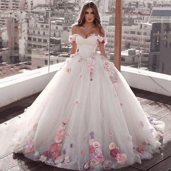 2020 Ivory Off Shoulder Quinceanera Dresses Ball Gown Tulle 15 anos Flowers Fluffy Dresses Sweet 18 Vestidos Elegant Prom Dress