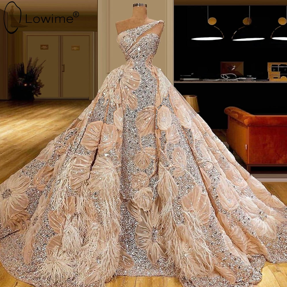 Luxury Beading Dubai One Shoulder Evening Dresses A Line Ruched Feathers Lace Formal Dress Middle East Robe De Soiree