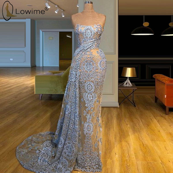 Light Blue Dubai See Through Mermaid Lace Evening Dresses Robe De Soiree Prom Party Gowns Vestido De Festa