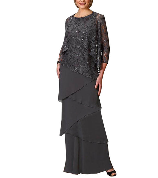 women elegant sequins chiffon tiered ruffles mother of the bride dress floor length for wedding groom 2019