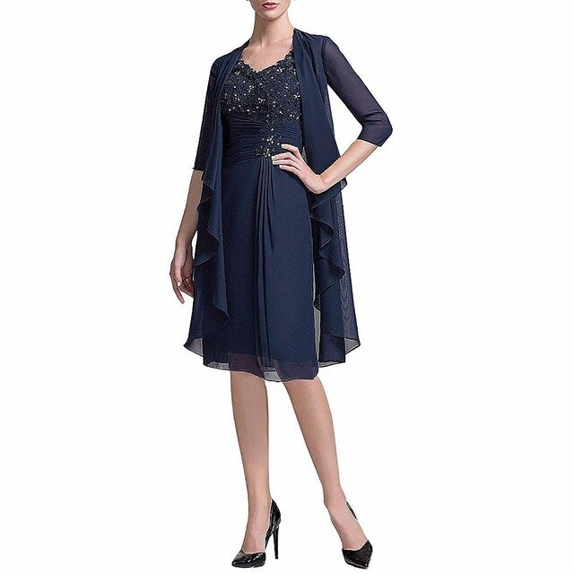 Knee Length Chiffon Beaded Mother of the Bride Dress with Jacket Lace Appliques Wedding Mother Dresses Two-Piece Evening Dresses