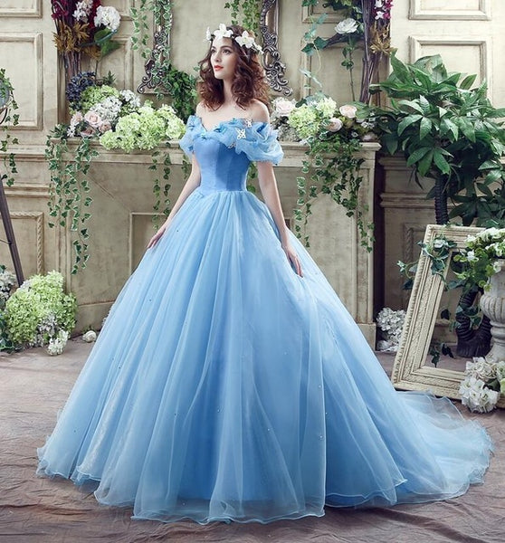 100% Real Images In Stock Blue Butterfly Cospaly Cinderella Dress Ball Gowns Tulle Quinceanera Dresses Ruffled Dress15 Years