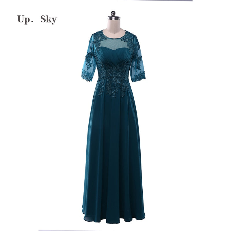 new wedding dress autumn and winter sleeves fine lace wedding mother loaded high-grade green dress