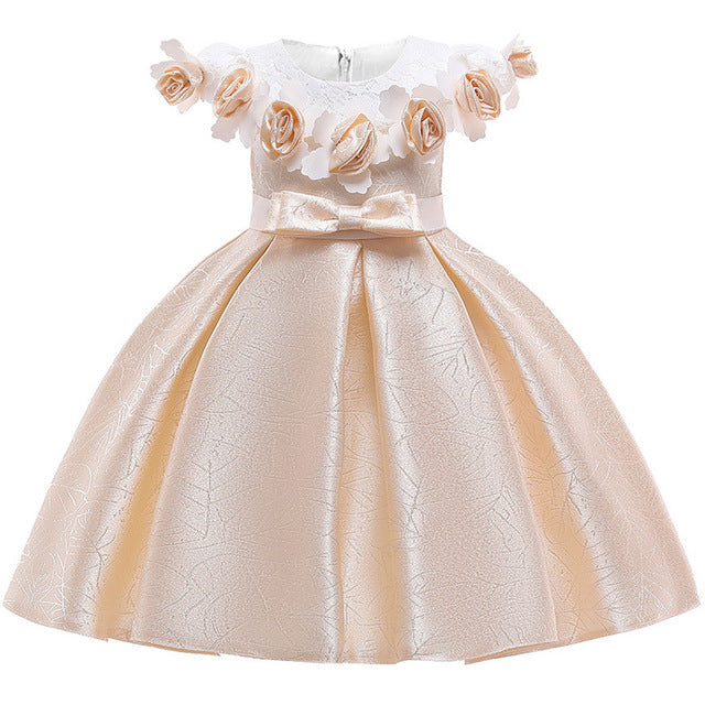 New Style Girl Wedding Party One-character Shoulder Suspender Dress Girl Bow Nail Pearl Flower Banquet Ball Dress vestidos