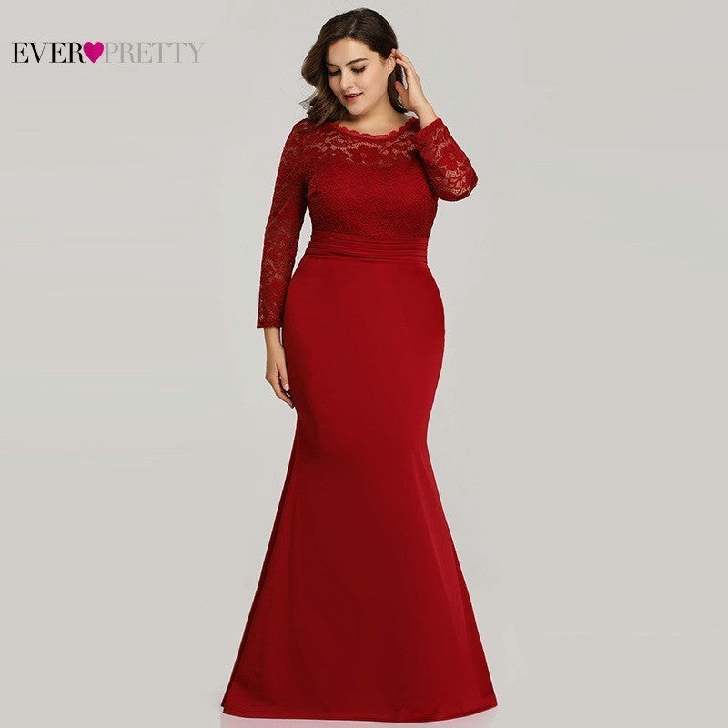 Plus Size Burgundy Mother Of The Bride Dresses Ever Pretty Mermaid Long Sleeve Appliques Lace Dress 2020 Farsali Robe De Soiree