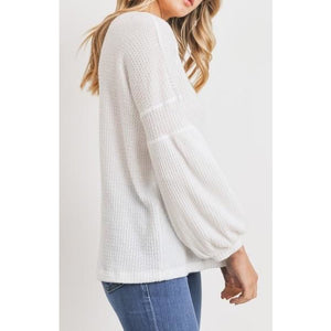 Long Balloon Sleeve Loose Fit Round Neck Brushed Thermal Knit Top