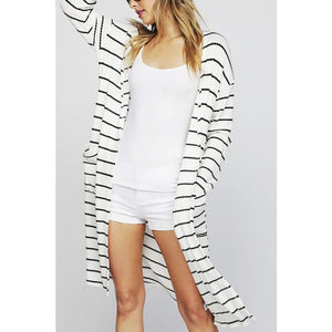 Long Sleeve Striped Waffle Knit Long Line Cardigan W/ Side Patch Pockets