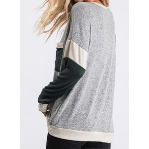 Long Sleeve Brushed Hacci Knit Colorblock Top