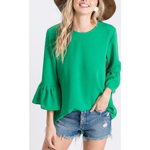 Bell Sleeve Top With Back Button Closure