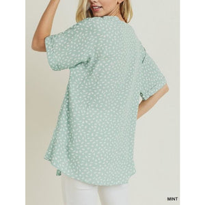 Speckled Cuff Sleeve Blouse