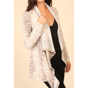 Long Sleeve Snake Print Cardigan