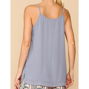 Sheer Neckline Adjustable Strap Camisole W/ Side Slits
