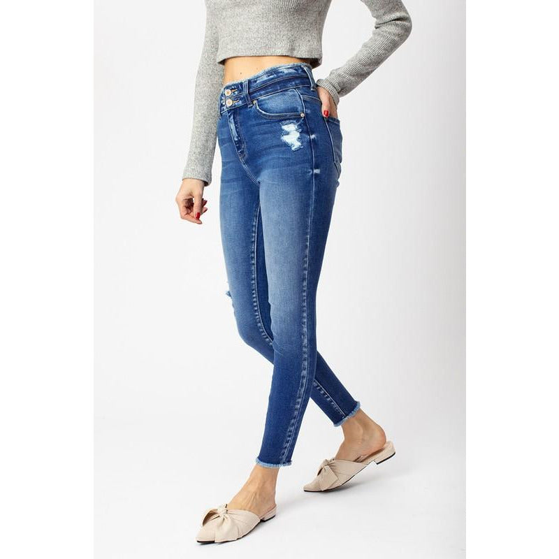 Coco Double Button Skinny Jeans W/ Frayed Hem