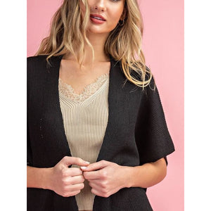 Short Sleeve Ribbed Cardigan