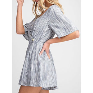 Striped Surplice Romper
