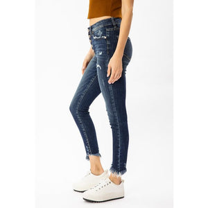 High Rise Button Up Skinny Jeans