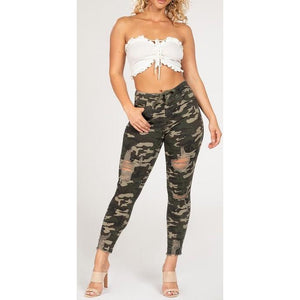 High Rise Distressed Ankle Joggers- Camo