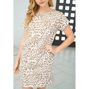 Short Sleeve Round Neck Cheetah Dress