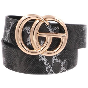 Snake Print Faux Leather w/CG Buckle