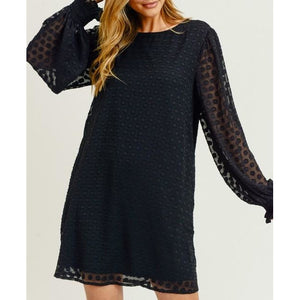 Textured Dotted Dress W/ Pockets